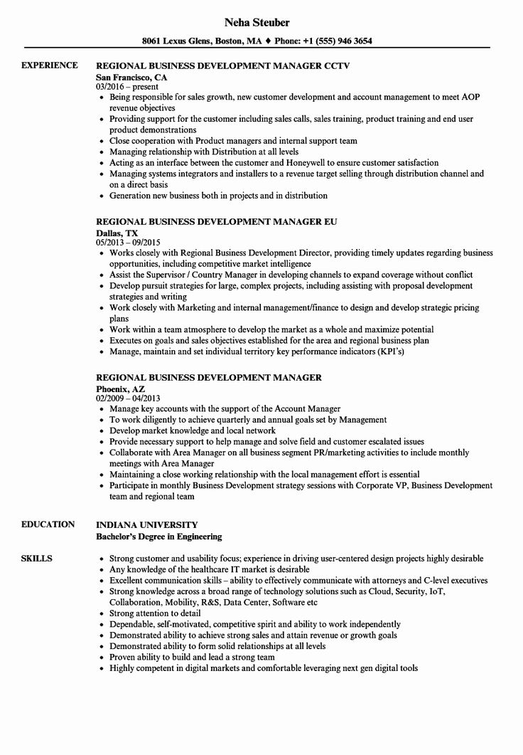 How to draft a Business Development Resume Sample