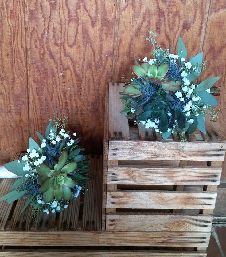 Succulent and thistle bridesmaids bouquets