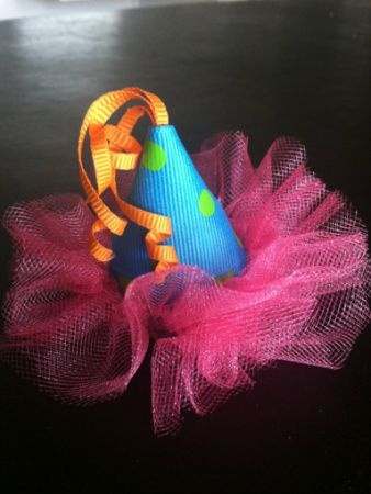 mini party hat headband     OR    cute for a present topper