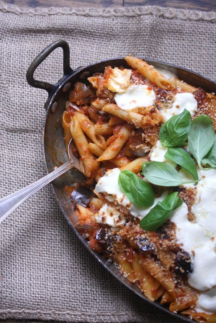 Baked Eggplant Parmesan Penne | features oven baked eggplant and pasta