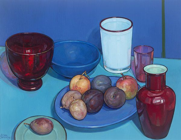 Still life with Plums, oil on board, by Criss Canning, 2013