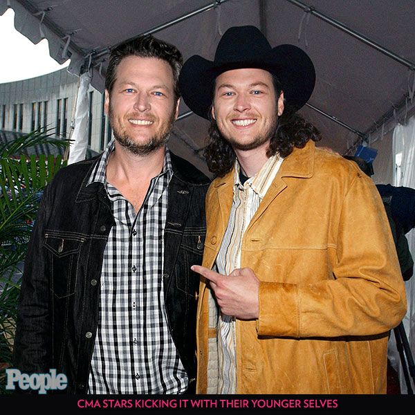 CMA Stars Kicking It with Their Younger Selves | BLAKE SHELTON | Before Shelton started his The Voice bromance with Adam Levine, he seemingly worked on his relationship with himself.