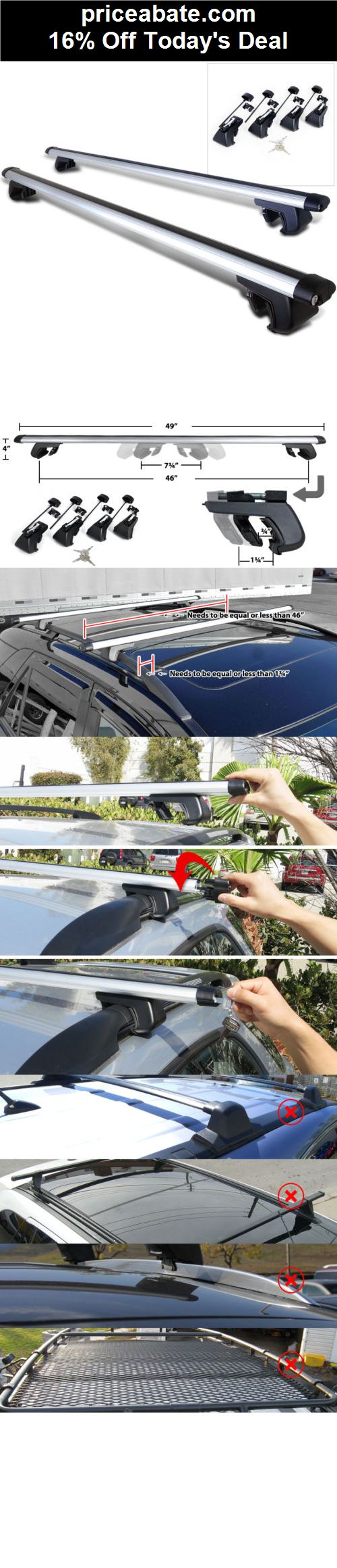 "16% Off 48""/120CM CAR SUV ALUMINUM ROOF TOP CARRIER RAIL RACKS CROSSBAR - eBay Daily Deal! - #priceabate! BUY IT NOW ONLY $48.95"