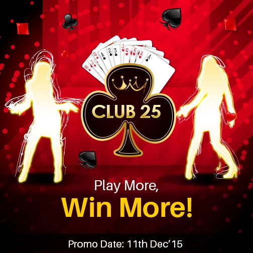 Step Right into Club 25! It's Illegal to play less today!  Play and win more than 25 cash rummy games today & win guaranteed cash prizes worth Rs.50,000. #OnlineRummy