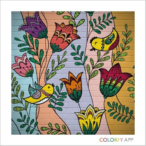 bird and flower on wall 2nd #colorfy