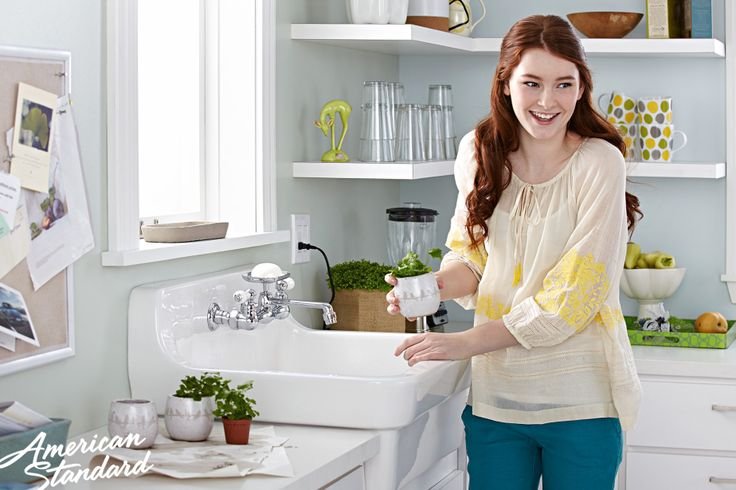 the american standard country kitchen sink features durable vitreous china an oversized bowl pre drilled faucet holes on 8   centers for a wall m u2026 the american standard country kitchen sink features durable      rh   pinterest com