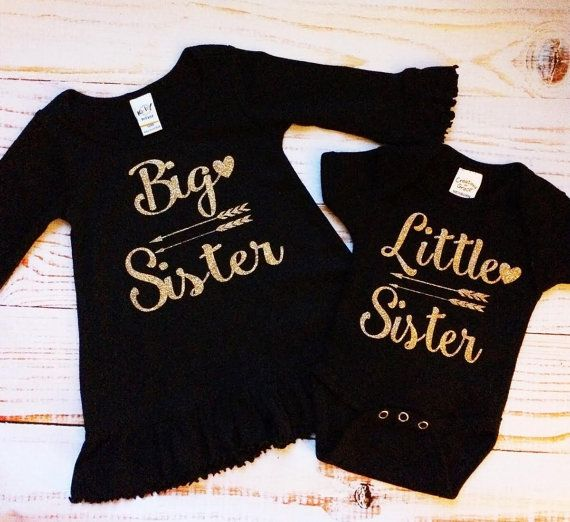 Big Sister and Little Sister Matching Outfits, Black/Gold dress onesie