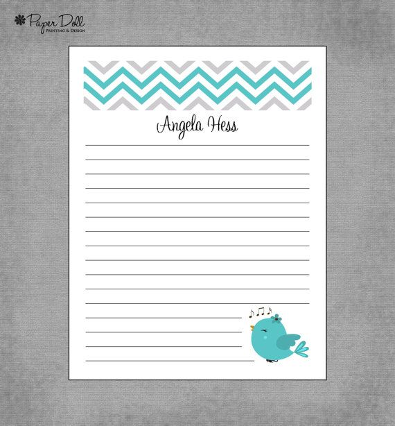 Personalized Custom Notepads  Bird with music by PaperDollPrinting, $12.00