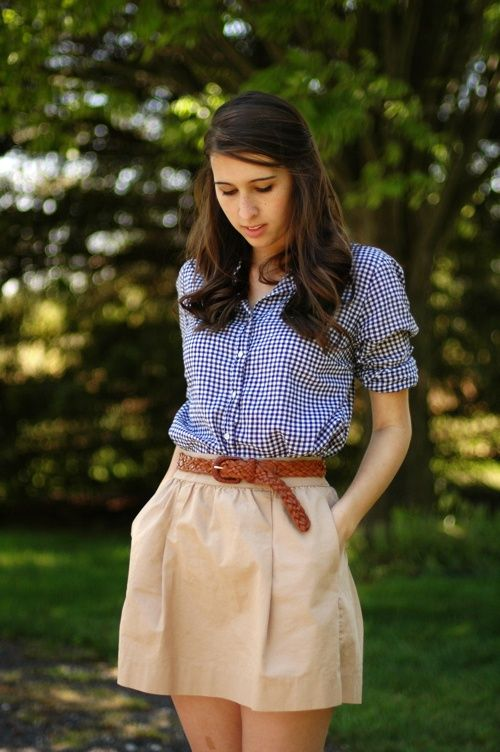 classics // daily uniform --- blue gingham shirt + brown belt + neutral flared short skirt