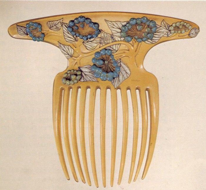 René Lalique - Art Nouveau Hair Comb. Carved Ivory, Mother of Pearl, Turquoise and Jade. France. Circa 1900.