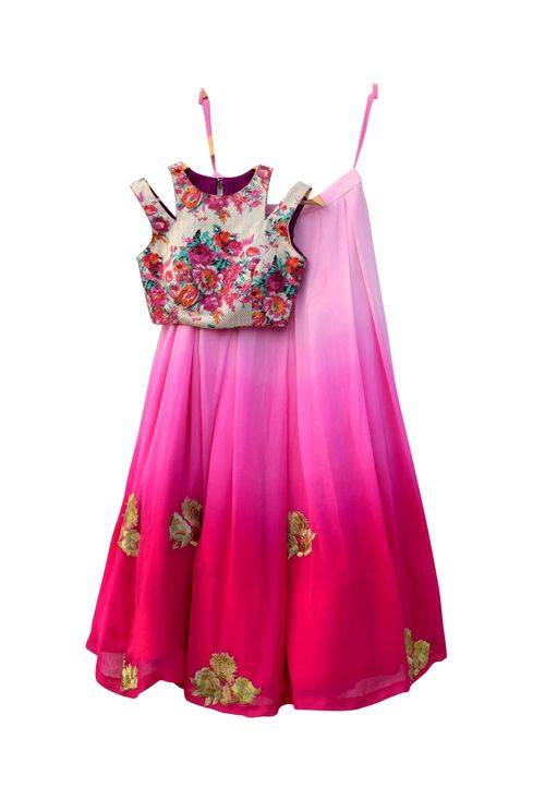 Medium red and pink ombre embroidered lehenga set - the top