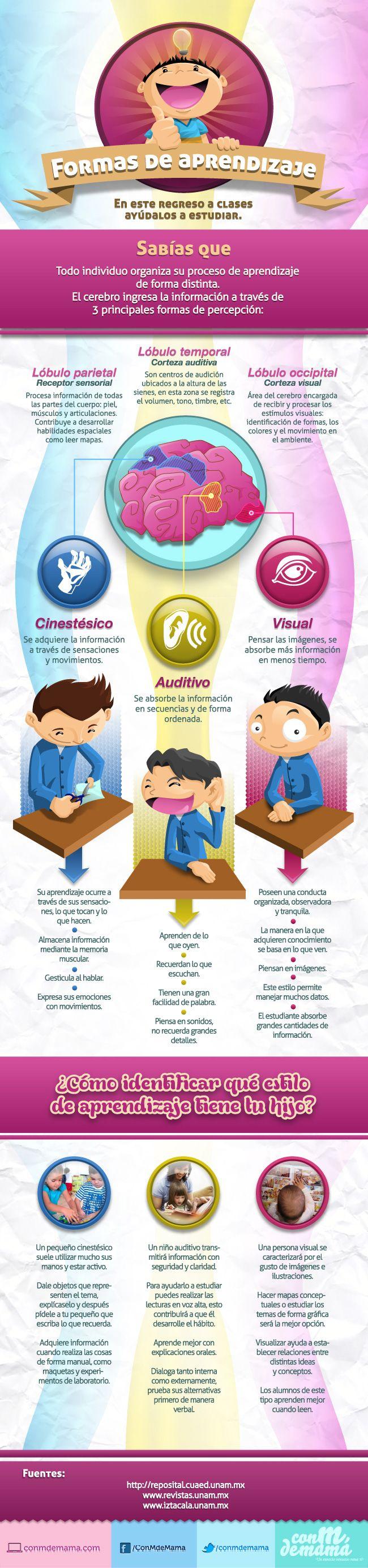 ¿De qué forma aprende tu hijo? Es visual, auditivo, tiene una mezcla de ambas. ¡Descúbrelo! #Infografía