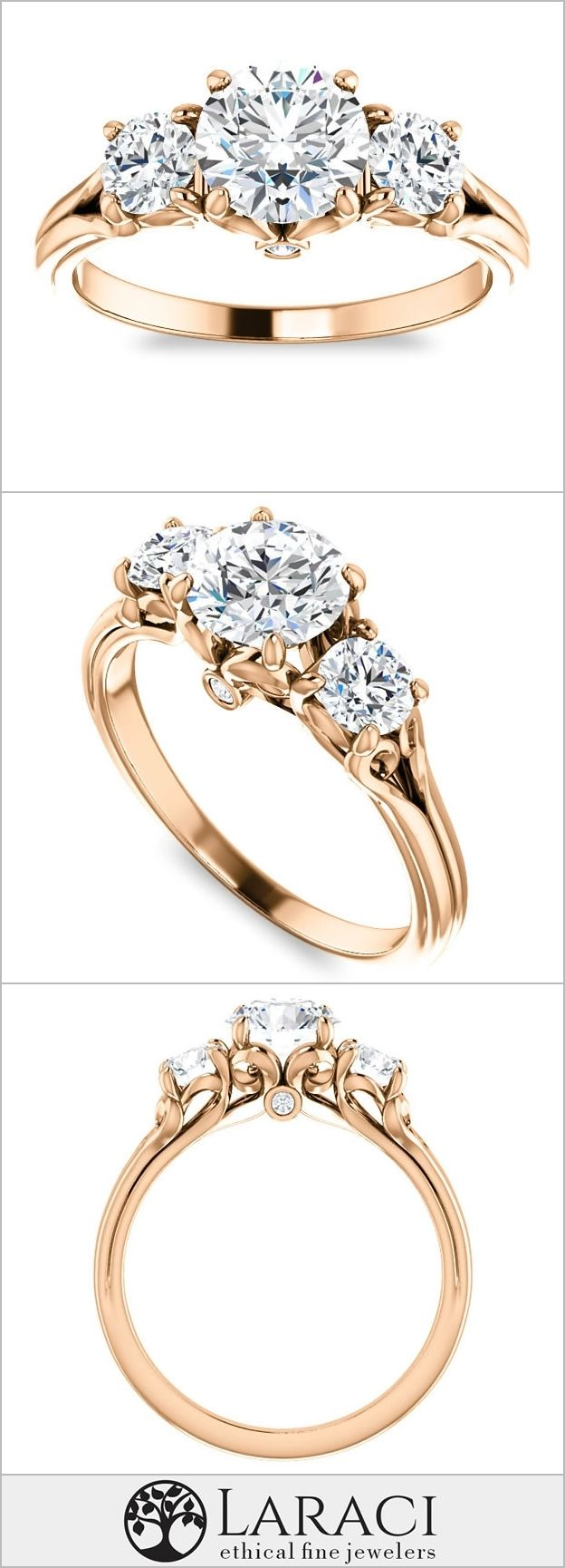 14K Rose Gold Accented Three Stone Engagement Ring set with a 1ct (6.5mm) Round Forever One Near Colorless Moissanite