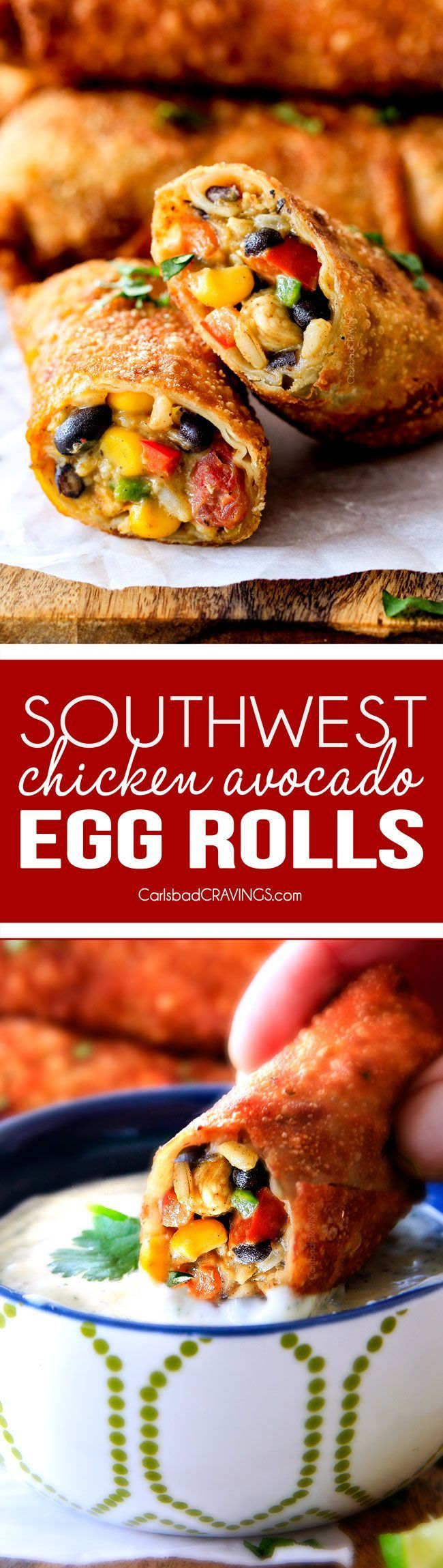 CRISPY Southwest Egg Rolls loaded with Mexican spiced chicken, beans, tomatoes, rice, avocado and cheese! These eggrolls are unreal! So much flavor and texture! And don't skip the Cilantro Lime Ranch