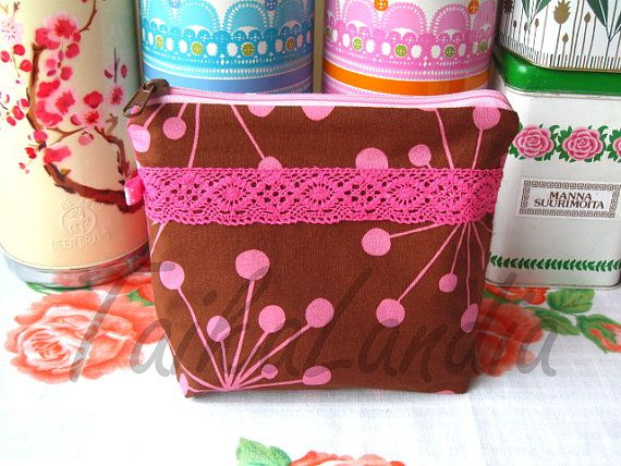 Brown  and Pink Make-Up Bag With Lace- Pink lace Cosmetic Bag - Lace Wash Bag - Lace Toiletry Bag - Lace Zipper Pouch, Zipper Pouch