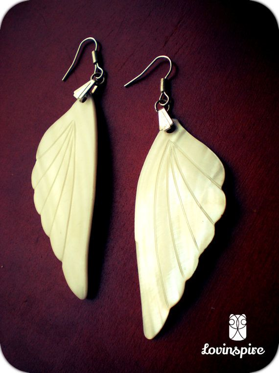 Lovinspire exclusive handpicked Vintage Mother of pearl fancy freedom white feather wing earrings for the saint, angel or hippie peace bird
