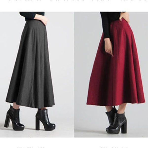 【送料無料】 かわいい ウール マキシ丈 ロング スカート 4色