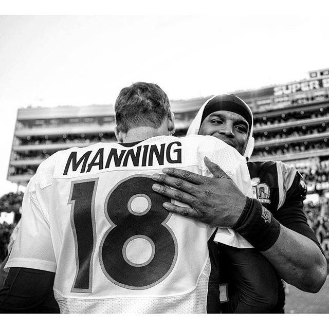 Cam Newton & Peyton Manning after Super Bowl 50