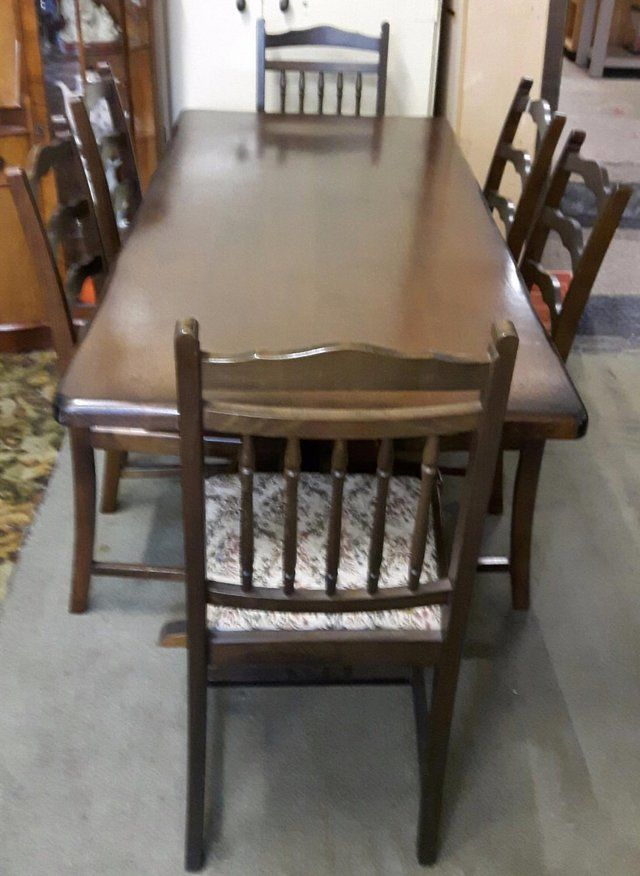 Vintage Solid Oak Dining Table With Six Chairs For Sale In Dewsbury West Yorkshire