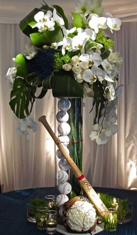 DIY Baseball Wedding Table Centerpiece ideas - surprisingly elegant