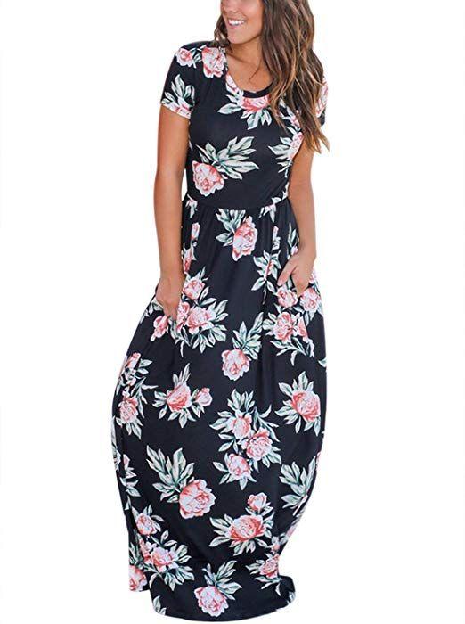 6904ef15e HOTAPEI Women's Casual Floral Print Long Maxi Dress Short Sleeve Summer  Beach Boho Hawaiian Empire Waisted Poackets Flower Formal Maxi Dresses for  Women ...