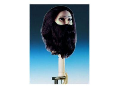 Testa studio uomo capelli veri con barba e baffi