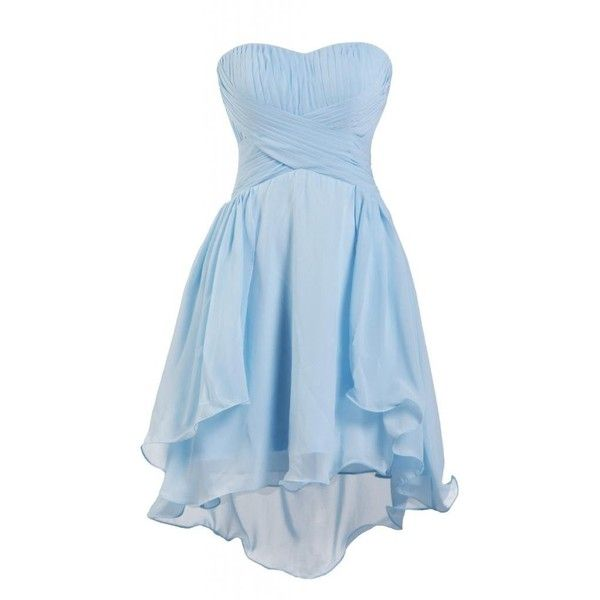 Ellames Sweetheart Junior Short Bridesmaid Homecoming Prom Chiffon... (£43) ❤ liked on Polyvore featuring dresses, homecoming dresses, blue dress, short blue dresses, blue cocktail dress and prom dresses