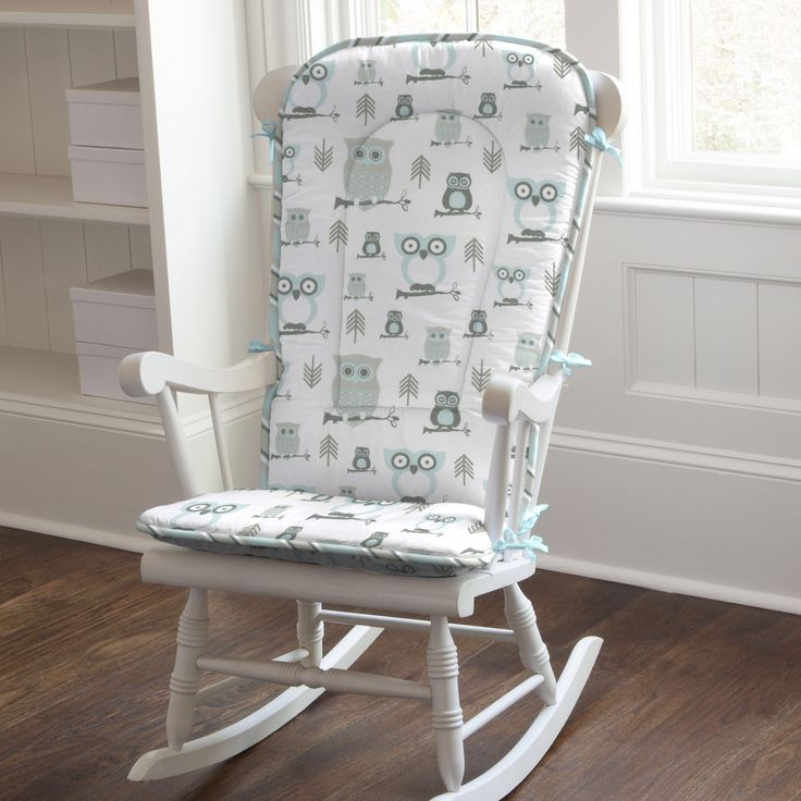Mist and Gray Owls Rocking Chair Pad #carouseldesigns