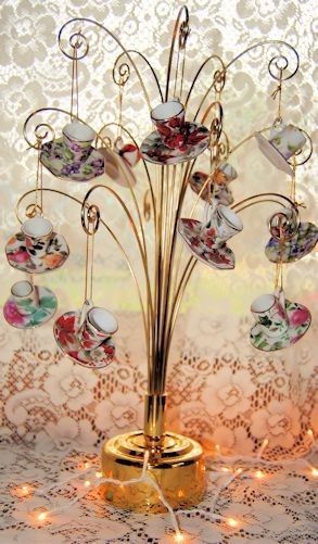 Porcelain Tea Cup Teacup Ornaments 12 Assorted Floral Chintz - Roses And Teacups  - 1