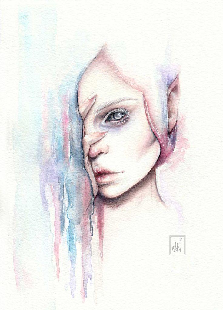 Watercolour fantasy portrait painting illustration art by Alicia Nilsson (ig: alicianilssoncreates)