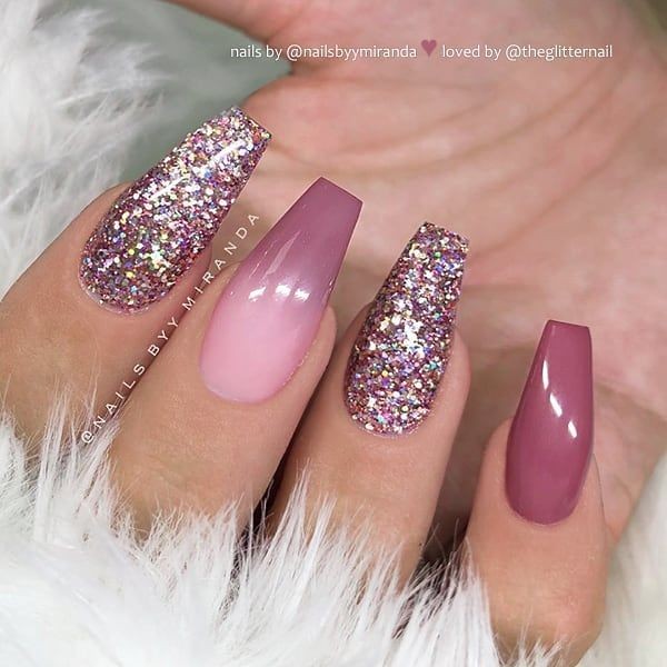 Theglitternail Get Inspired On Instagram Berry Mauve Ombre And Glitter On Coffin Nails Nail Mauve Nails Pink Ombre Nails Ballerina Pink Nails