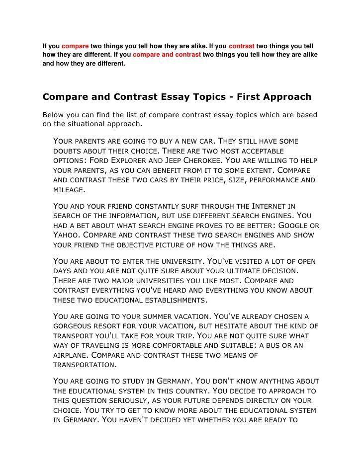 How To Write A Good Compare Contrast Essay Essay Topics Compare And Contrast Essay