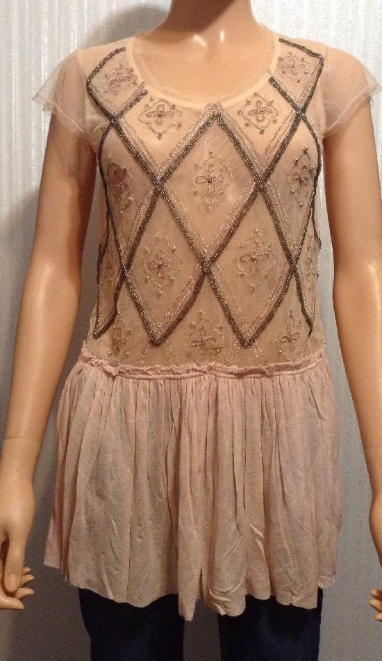 Free People Peach Sheer Gauze Lace Cap Sleeve Embellished Beaded Peplum Top S #FreePeople #Tunic: