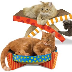 Pet Stages - fab.com - Clawing Scratchers - I love these - With its team of designers, manufacturers, clinical advisors, and marketers, Petstages offers up these scratchers that are sure to entertain your indifferent cat with a corrugated cardboard makeup and cozy spots for rest. You'll be sure to dazzle him with this seriously clawtastic scratcher.