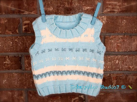 Hand Knitted Baby Boy Vest 6-9m infant baby by CaterpillarStudio7