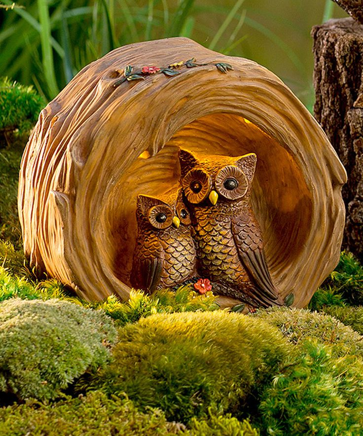 Add Some Unexpected Whimsy To Your Landscape With Our Owls In A Log. This Outdoor  Garden Sculpture Features A Mother And Baby Owl Nestled Into A Cozy Log, ...