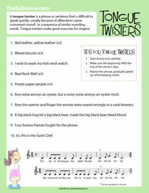 Voice Teachers: Free Download - Vocal Warm Ups for Kids - Tongue Twisters.