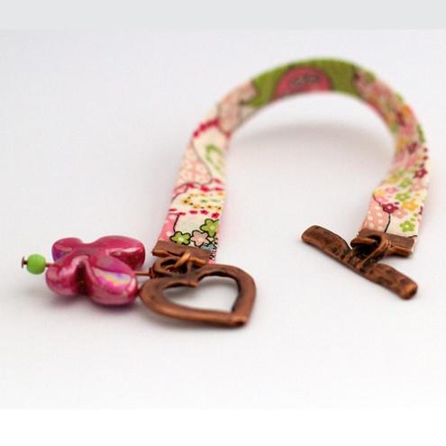 Liberty Fabric Charm Bracelet, spring colours £14.95