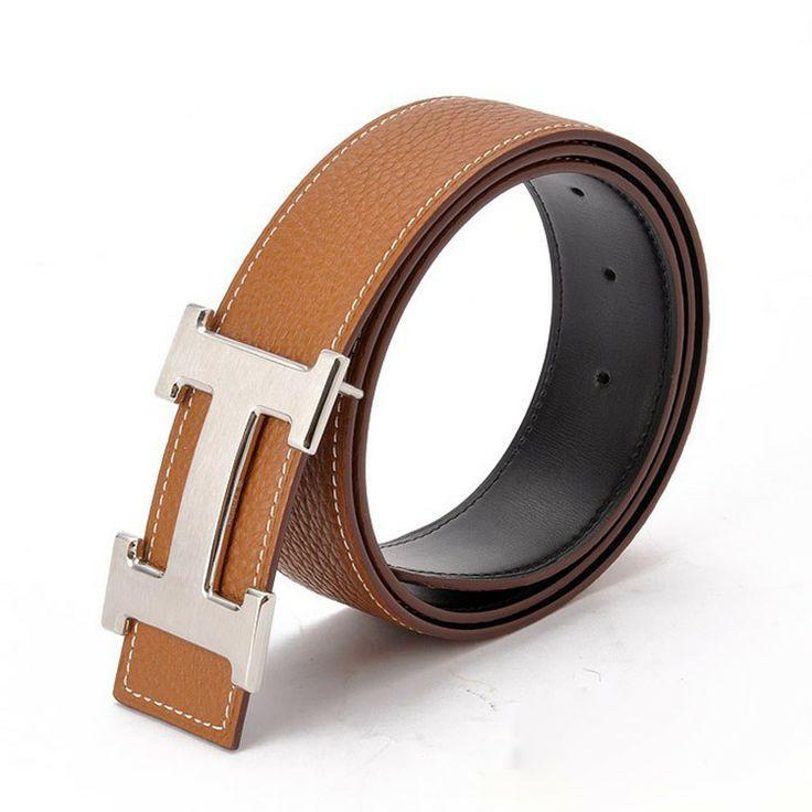 brown hermes h belt back side leather is black with h