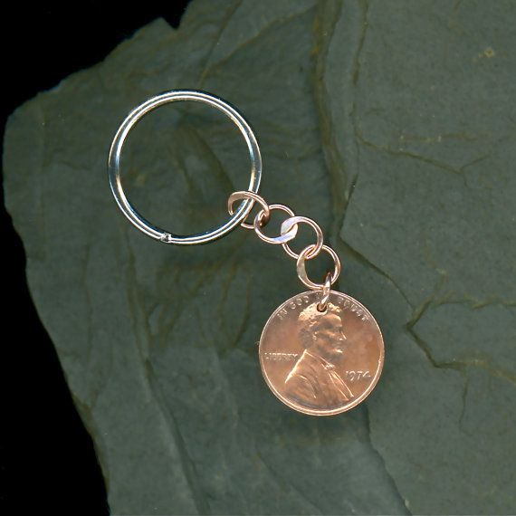 1974 Penny Keychain 40th Anniversary 40th Birthday Gift Coin 1974 Penny