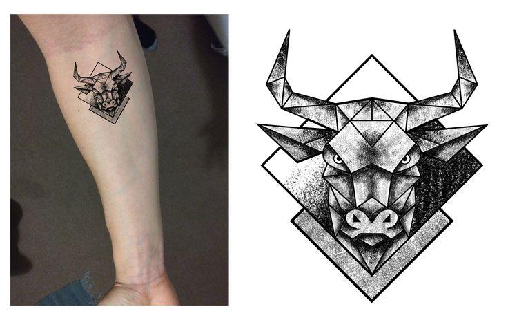 Taurus Bull Geometric Dotwork Tattoo Design. Designer: Andrija Protic