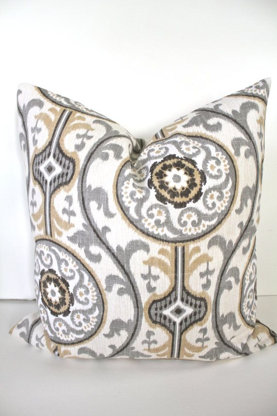 PILLOW COVER 12x16 16x20 12x24 TAN Throw Pillow Covers Gray Decorative Throw Pillows Lumbar Geometric Pillow shops Home Decor on Etsy, $13.95