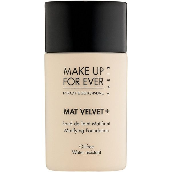 MAKE UP FOR EVER Mat Velvet + Mattifying Foundation ($39) ❤ liked on Polyvore featuring beauty products, makeup, face makeup, foundation, fillers, beauty, cosmetics, liquid foundation, oil free foundation and oil free liquid foundation