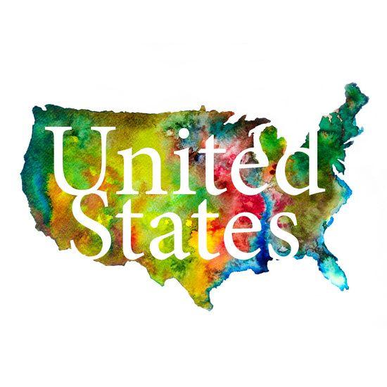 Nieuw in mijn Werk aan de Muur shop: United States_Abstracte Landkaart met Witte Tekst