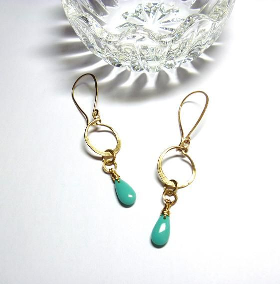 Brass Dangle Hoops with Turquoise Color Drop Charm Earrings