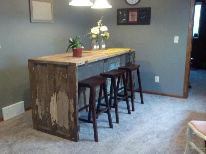 Bar Made Of Old Doors In Our Basement