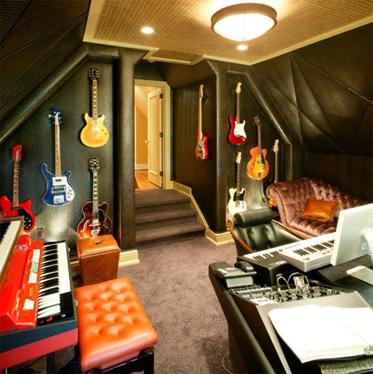 Salas de música e estúdios caseiros, 23 ideias para você se inspirar - limaonagua                                                                                                                                                                                 Mais