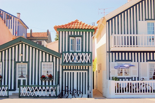Vacation in a striped beach house in Costa Nova, Aviero, Portugal
