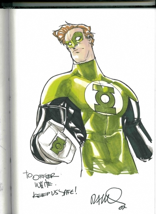"""""""A Green Lantern (Hal Jordan) commission by Humberto Ramos"""". I like how the commission was apparently done for a police officer."""