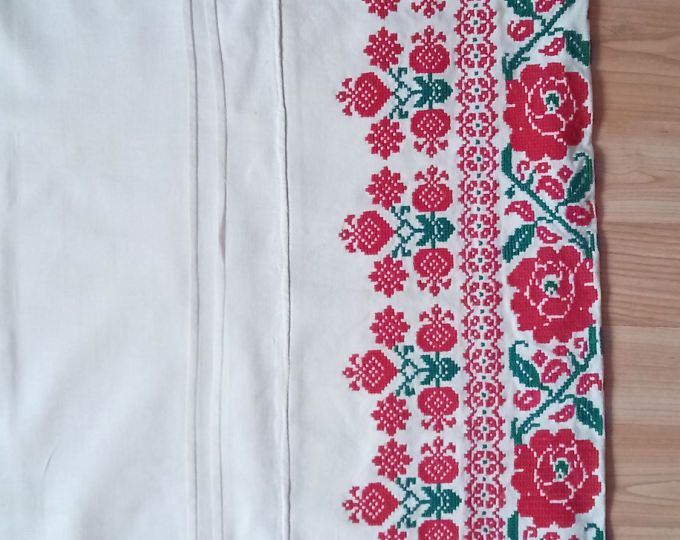 Cross stitch vintage big pillow case hand made Hungarian embroidered red black cream pillow case